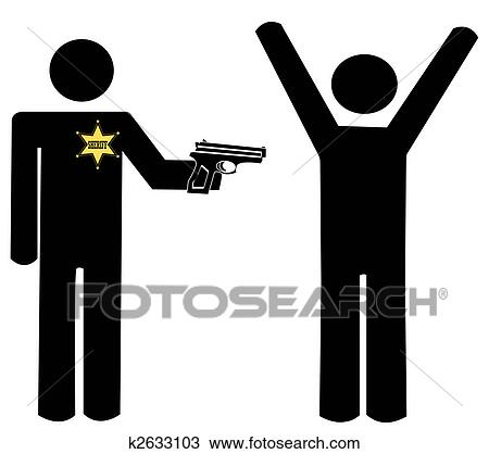 Drawing of sheriff with gun holding another man at gun ...
