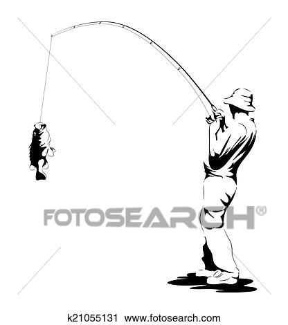 Clipart p cheur attraper poisson k21055131 recherchez - Dessin pecheur ...