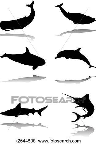 Clip art set di animali marini k2644538 cerca - Clip art animali marini ...