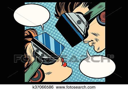 剪贴画 - 实际上, 爱, man woman, vr, 玻璃杯.图片