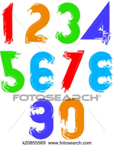 clip art of calligraphic brush numbers hand painted bright vector rh fotosearch com clip art of numbers in 3d clip art of numbers 1 12