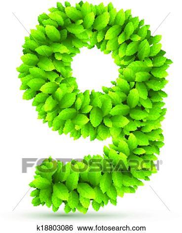 剪贴画 - 数字, 矢量, 字母表, 在中, 绿色的树叶.图片