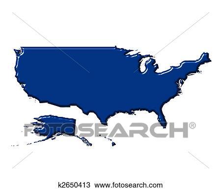 手绘图 - 美国, 3d, 地图