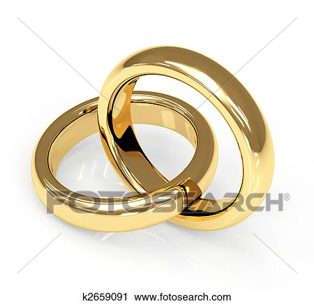 Clipart of Two 3d gold wedding ring k2659091 Search Clip Art
