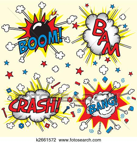 Clip Art of Crash, Boom, Bam and - 84.0KB