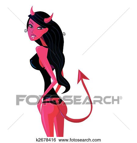clip art of cartoon retro devil pinup girl k2678416 search clipart rh fotosearch com Pin Up Girl Silhouette Clip Art Pin Up Girl Gum Clip Art