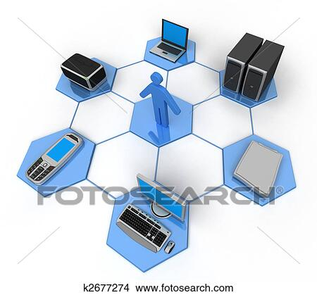 Drawings of Computer Network k2677274 - Search Clip Art ...