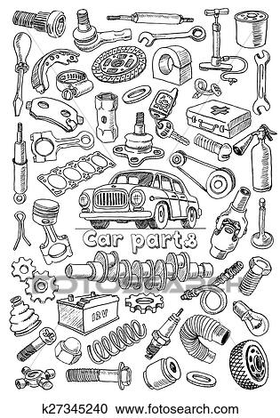 Clipart of Car parts in freehand drawing style k27345240 - Search ...
