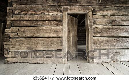 Picture of Log Cabin With Open Front Door k35624177 - Search Stock ...