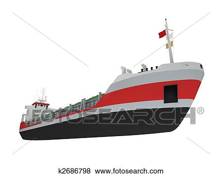 Stock Illustration of Big cargo ship isolated front view ...