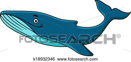 Clip Art of Large blue whale mascot k18932346 - Search Clipart ...
