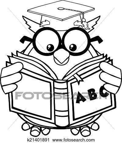 Tafel clipart schwarz weiß  Clipart - schwarz weiß, weise, eule, lehrer k21307633 - Suche Clip ...
