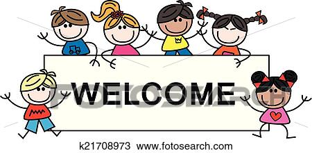 Clipart of mixed ethnic children welcome k21708973 - Search Clip ...