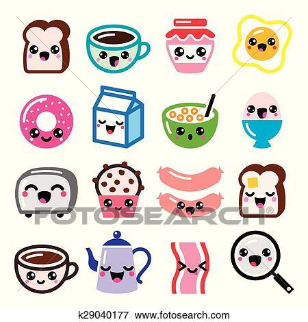 Clip art kawaii cibo colazione e bevande k29040177 for Immagini disegni kawaii