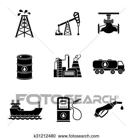 clipart of set of oil icons - barrel, gas station, rigs, tanker