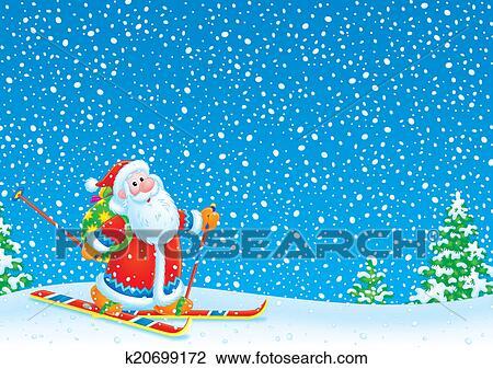 剪贴画 - 圣诞老人, 滑雪者