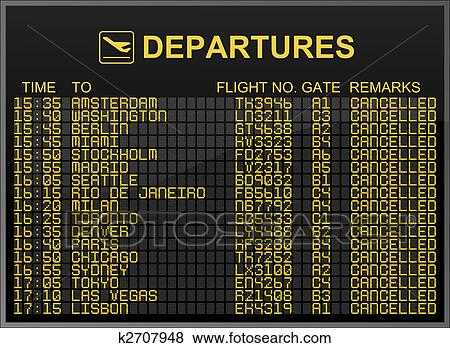 Pictures Of International Airport Departures Board With