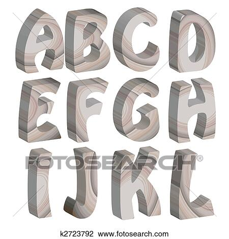 Clip art of 3d wooden letters of the alphabet k2723792 for 3d wooden alphabet letters