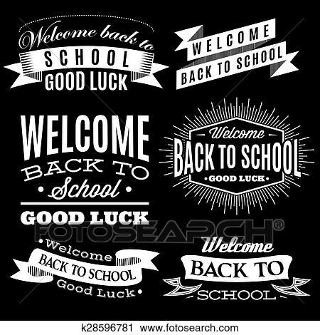 Schule clipart schwarz weiß  Clipart - schwarz weiß, satz, von, etiketten, auf, zurück schule ...