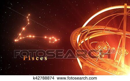 手绘图 - 黄道带, 星座, 双鱼座, 同时,, 手镯的半球, 结束, 红的背景