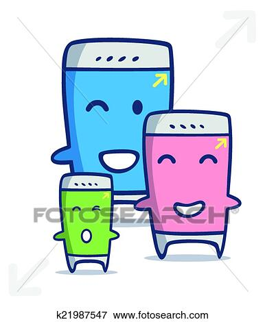 clip art of kawaii smart phone cartoon in different sizes k21987547 rh fotosearch com kawaii clip art free kawaii clipart transparent