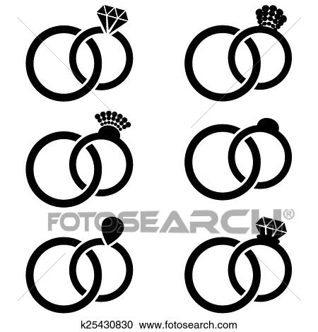 Clipart of Wedding ring icons k25430830 Search Clip Art