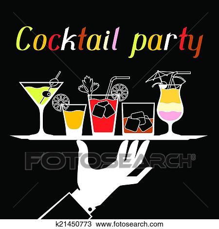 clipart party einladung mit alkohol getr nke und cocktails k21450773 suche clip art. Black Bedroom Furniture Sets. Home Design Ideas