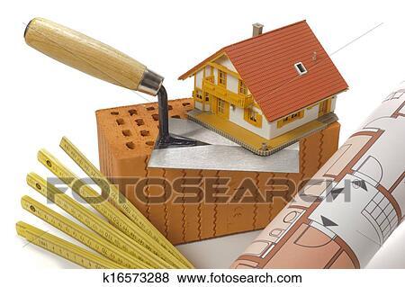 Haus baustelle clipart  Bilder - mauerstein, und, werkzeuge, für, haus, gebäude k16573288 ...