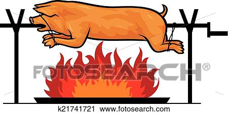 Clip Art Pig Roast Clip Art clipart of roasted pig on a spit k21741721 search clip art fotosearch illustration murals
