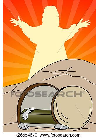 Clipart of Empty tomb-Jesus is risen k26554670 - Search Clip Art ...