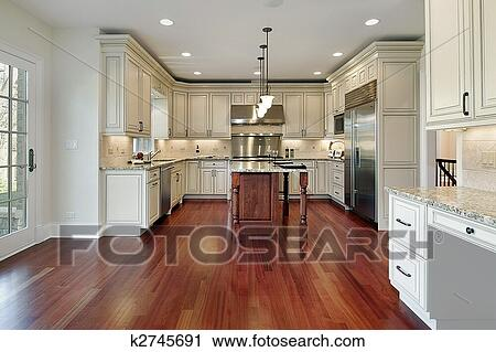 stock fotografie kueche mit kirschen h lzerner fu boden k2745691 suche stockfotos fotos. Black Bedroom Furniture Sets. Home Design Ideas