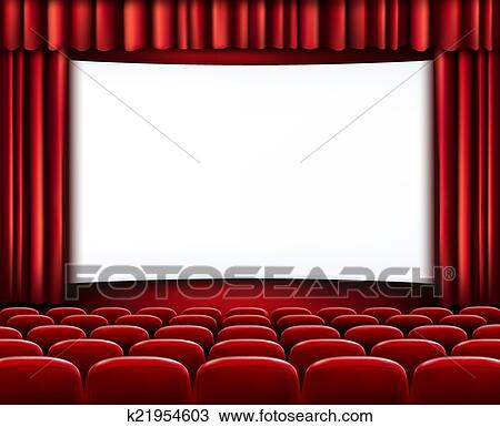 clipart of rows of red cinema or theater seats in front of