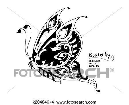 蝴蝶, 风格, 线, thai., 矢量