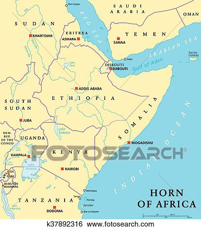 Clip Art of Horn of Africa Political Map k37892316 Search Clipart