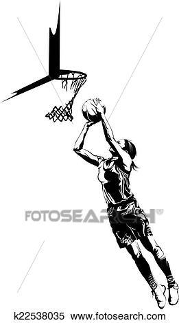 Clipart of Women's Basketball Layup k22538035 - Search ...