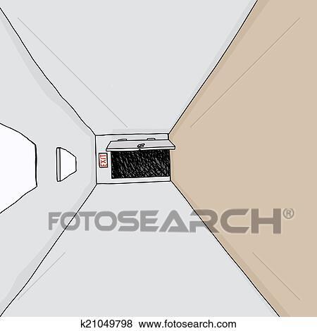 Clip Art of Exit Door in Hall k21049798 - Search Clipart ...