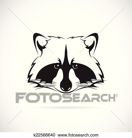 Clipart of Vector image of a raccoon face on white ... Raccoon Face Clip Art Black And White
