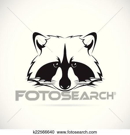 Clipart - vecteur, image, de, a, raton laveur, faire face ... Raccoon Face Clip Art Black And White