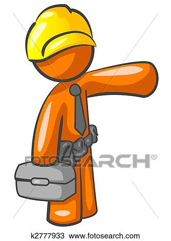 Drawing Of Orange Man Construction Worker Presenting K2777933