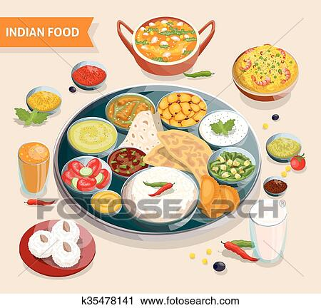 Clipart of Indian Food Composition k35478141 - Search Clip ...