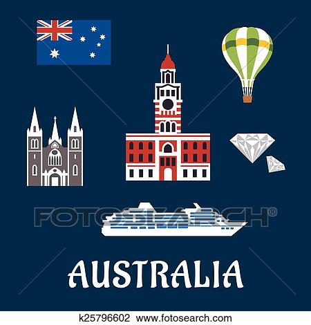 Clipart Of National Australian Symbols And Icons K25796602 Search