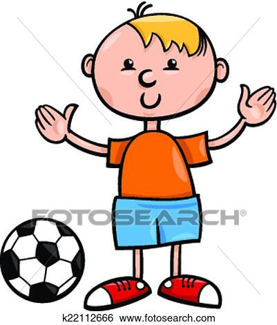 clip art of boy with ball cartoon illustration k22112666 search rh fotosearch com  cartoon foot clipart