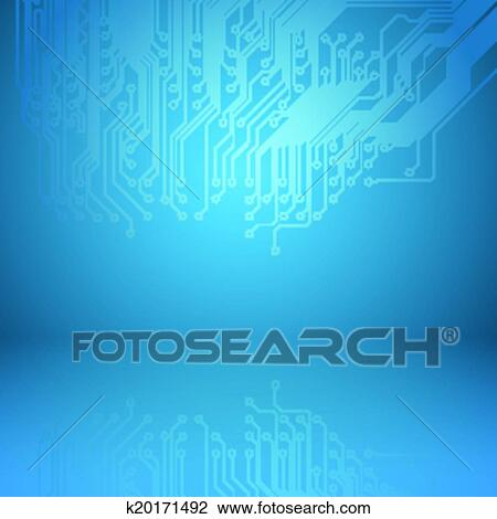 Clipart of Abstract electronics blue background with circuit board ...