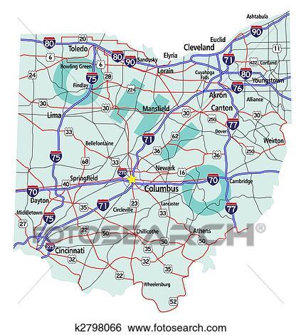 イラスト - オハイオ州, 州, 州連帯, 地図... イラスト - オハイオ州, 州, 州連帯