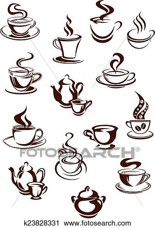 clipart duftend kaffeetassen in skizze stil k23828331 suche clip art illustration. Black Bedroom Furniture Sets. Home Design Ideas