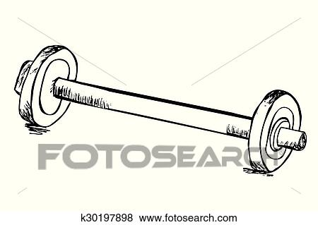 Clip Art of Hand draw sketch of barbell k30197898 - Search Clipart ...