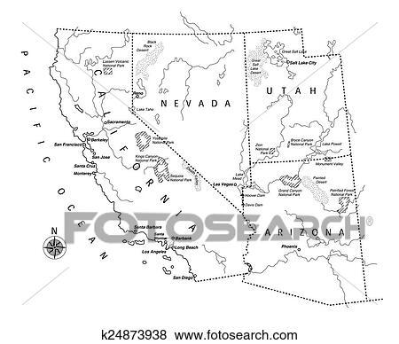 Clip Art Of US West Coast Map K24873938 Search Clipart - Map Us West Coast