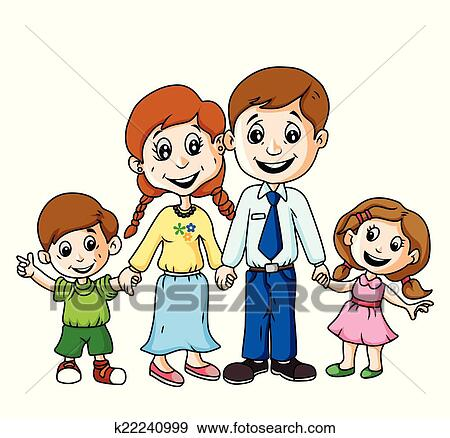 clip art of happy family k22240999 search clipart illustration rh fotosearch com happy family picture clipart happy family day clipart