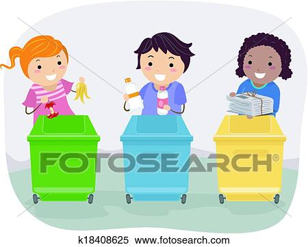 Clipart of waste segregation kids k18408625 search clip for Art from waste for kids
