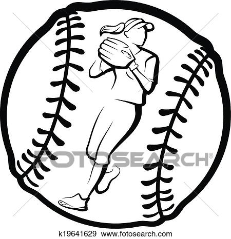Clipart of Softball Player Throwing in Ball k19641633 - Search ...